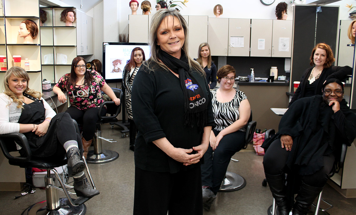 denise klug, an instructor in Clover Park Technical College's beauty school