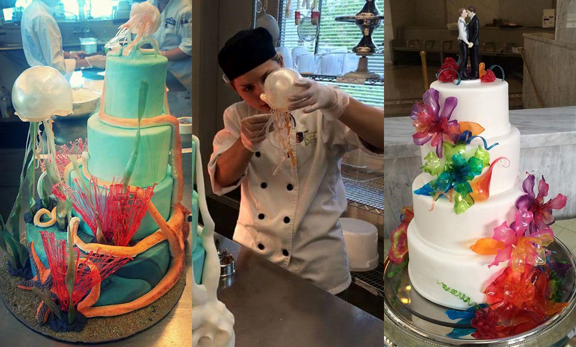 CPTC Pastry Arts alum Teresa Argeris (center) specializes in sugar work, as seen in the cakes she's worked on (left and right).