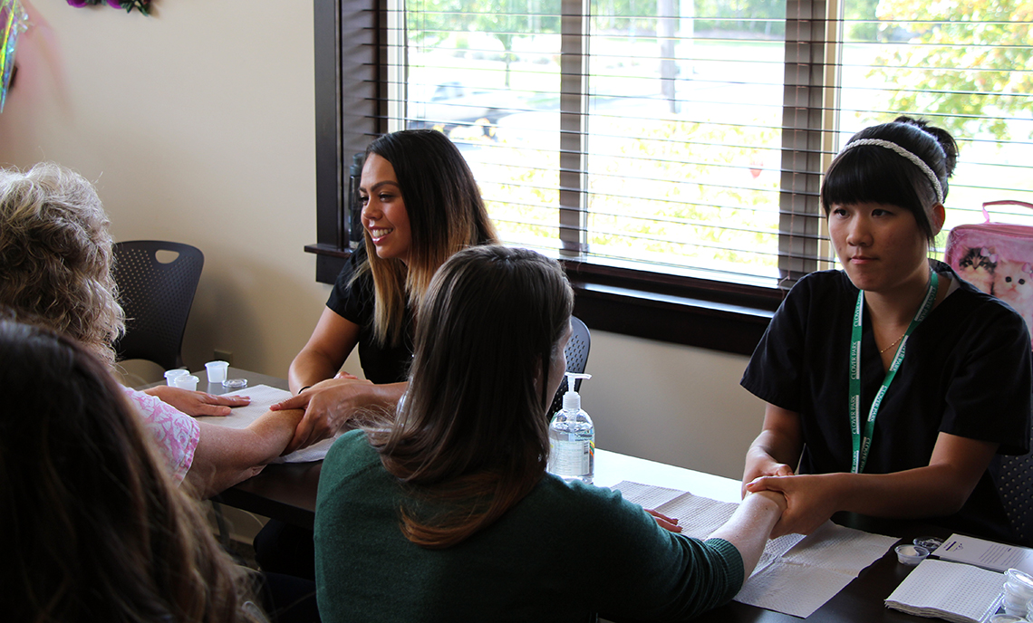 Clover Park Technical College esthetic sciences students spent Thursday afternoon offering massages to patients and staff members at Carol Milgard Breast Center in Tacoma.
