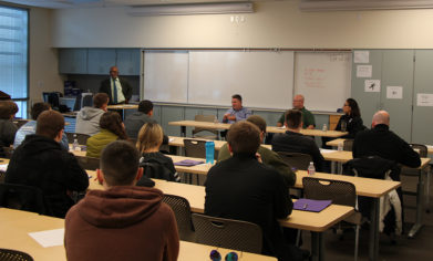 Mechatronics and FSME students listen to representatives from local employers as part of an employer panel