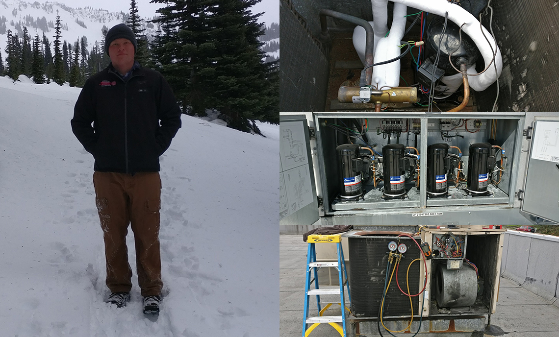 On the left, Clover Park Technical College student Caleb Davenport enjoys some time in the snow recently, while on the right are three examples of his HVAC work.
