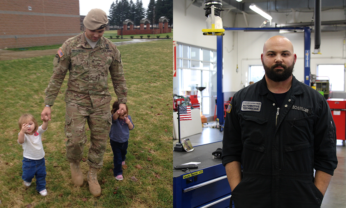 CPTC student Schuyller Nagorski with his two young daughters when he was in the military (left) and Nagorski in the CPTC auto shop (right)