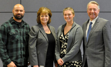 From left to right: Schuyller Nagorski (RPM Scholar), Renee Crist (America's Car Museum Collections Manager), Ericka DeBoer (RPM Scholar) and Manfred Scharmach (BMW Northwest President and CEO) at the CPTC Foundation Scholarship Celebration Luncheon April 18, 2017. Image Credit: Lori Randall.