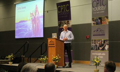 Four-time Iditarod champion Dallas Seavey served as the keynote speaker at the 2017 CPTC Foundation Scholarship Banquet on April 18 at the McGavick Conference Center.