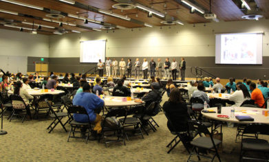 Clover Park Technical College staff, faculty and administrators introduce themselves as resources to assist students during the Minority Student Engagement Open Forum on May 9.