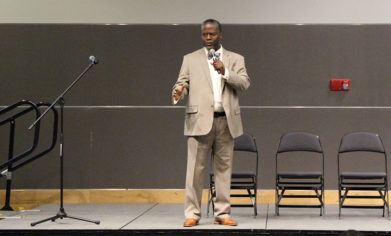 Clover Park Technical College alum Bryant Watts speaks at the Minority Student Engagement Open Forum on May 9.