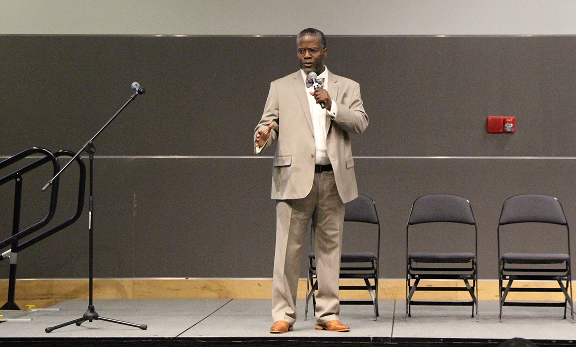 Clover Park Technical College alum Bryant Watts speaks at the Minority Student Engagement Open Forum on May 9, 2017.