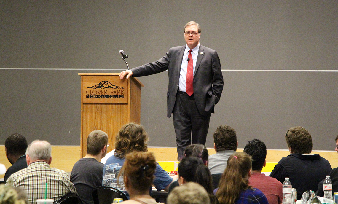 Congressman Denny Heck spoke and answered questions as part of the latest Leadership Luncheon at Clover Park Technical College on May 10.