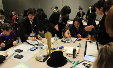 Osaka Jikei students demonstrated calligraphy as part of the cultural exchange element of their recent trip to CPTC.