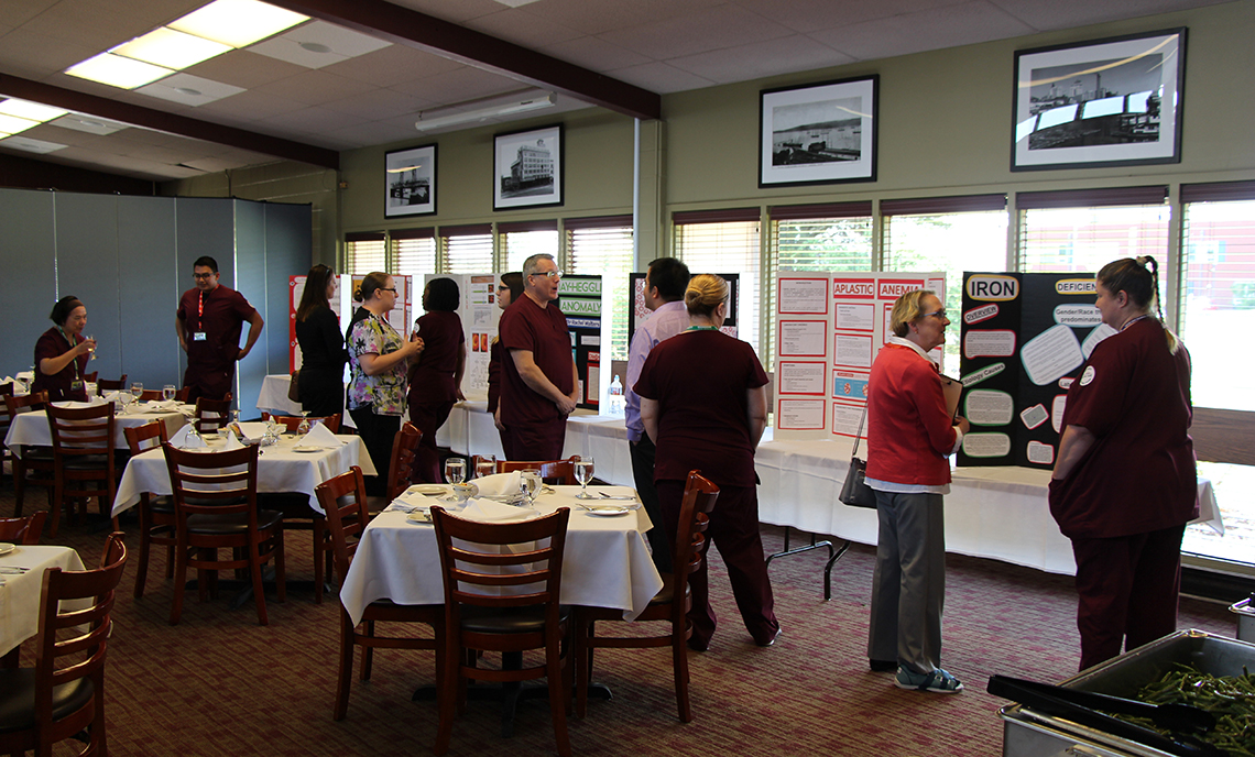 CPTC MLT students present their projects and converse with clinical site representatives