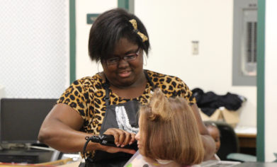 CPTC students, faculty and alumni volunteered their time and hair cutting skills Saturday, Aug. 5, to help get local students ready for the 2017-18 school year.