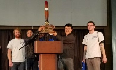 Clover Park Technical College's Aviation Maintenance Technician competition team holds up the trophy after winning the skills competition at the 2018 Northwest Aviation Conference & Trade Show on Feb. 24.