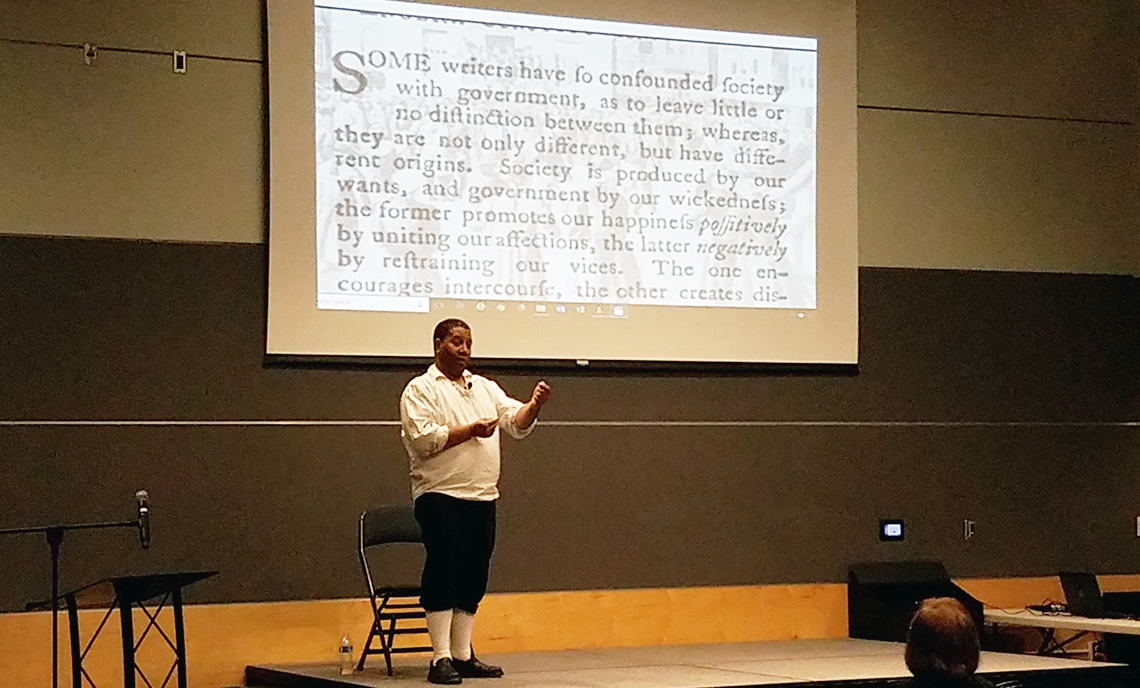"""Living Voices actor Robert Williams performs the story """"Our Revolution"""" at CPTC on Feb. 20."""