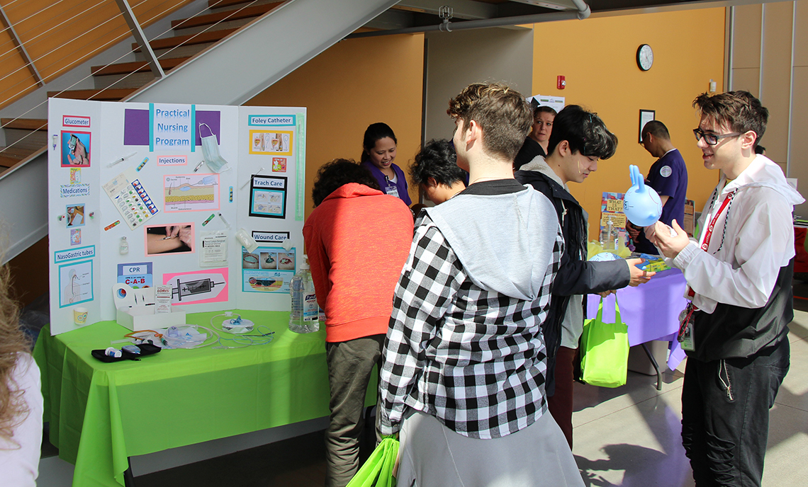 High school students learn about CPTC's Nursing program during the 2018 Career Conference on May 10, 2018.