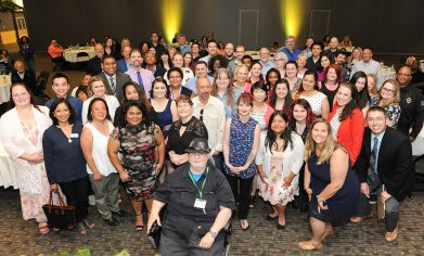 All award nominees in attendance at the 2018 Student Awards Ceremony gathered for a group photo.