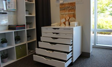The new Personal Care Pantry is a self-serve cabinet with a selection of essential care items for student use.