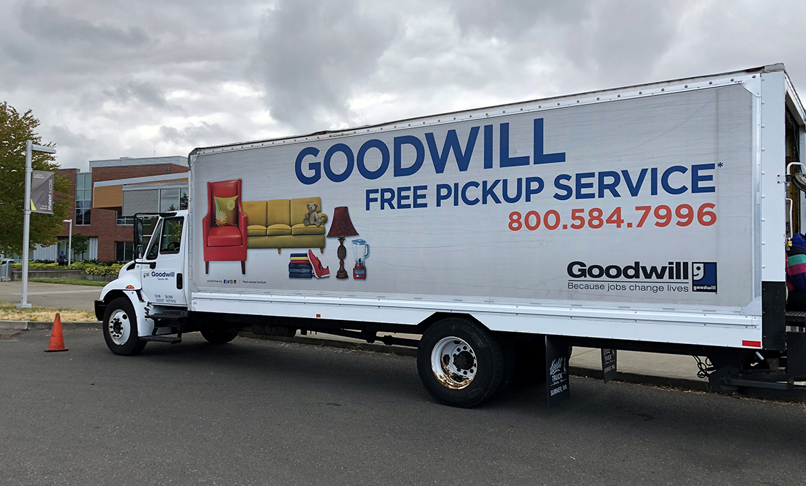 Goodwill brought a 27-foot truck to Clover Park Technical College's Lakewood Campus Friday, Aug. 3, for the college community to fill with donations.