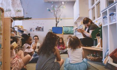 CPTC student Christen Henry cares for children at the on-campus Hayes Child Development Center as part of her Early Care and Development practicum.