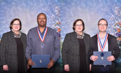 CPTC President Dr. Joyce Loveday with All-Washington Academic honorees Ronald Hayes (left) and Nelson Nyland (right) at the luncheon ceremony on Thursday.