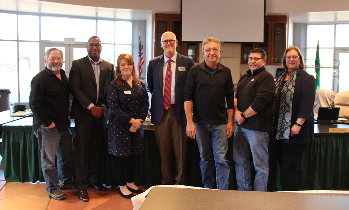 From left to right, CPTC Trustees Bruce Lachney and Eli Taylor, Jennifer Weinmann, Jay Lanphier, Michael Smith, CPTC Trustee Mark Martinez, and CPTC President Dr. Joyce Loveday.