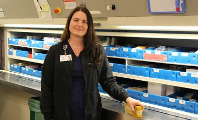 CPTC Pharmacy Technician program alum Sara works at St. Clare Hospital in Lakewood and serves on CPTC's program advisory committee.