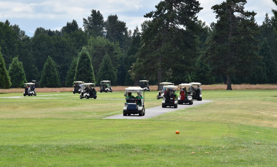 Line of golf carts drive on the golf course.
