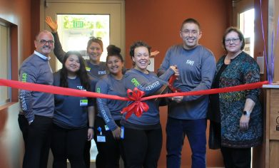 Staff cut the ceremonial ribbon during the CPTC Fitness Center Grand Opening.
