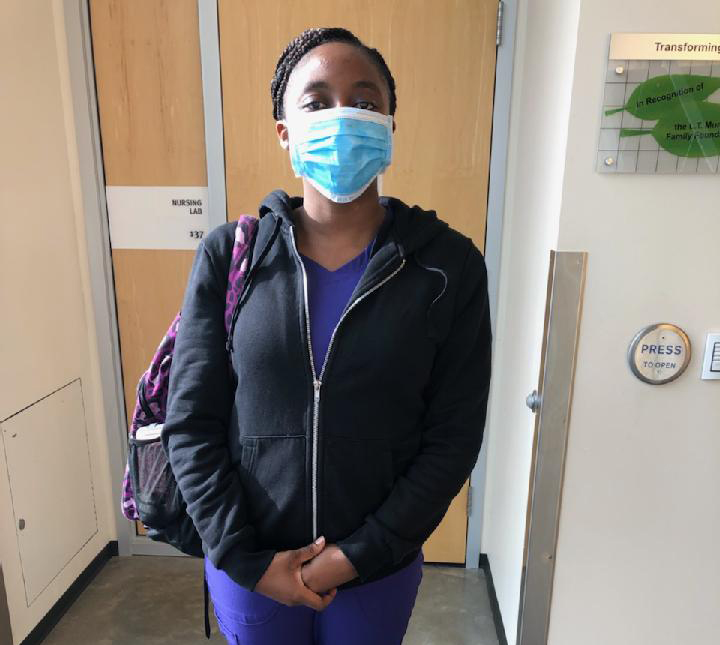 Nursing student wearing a mask