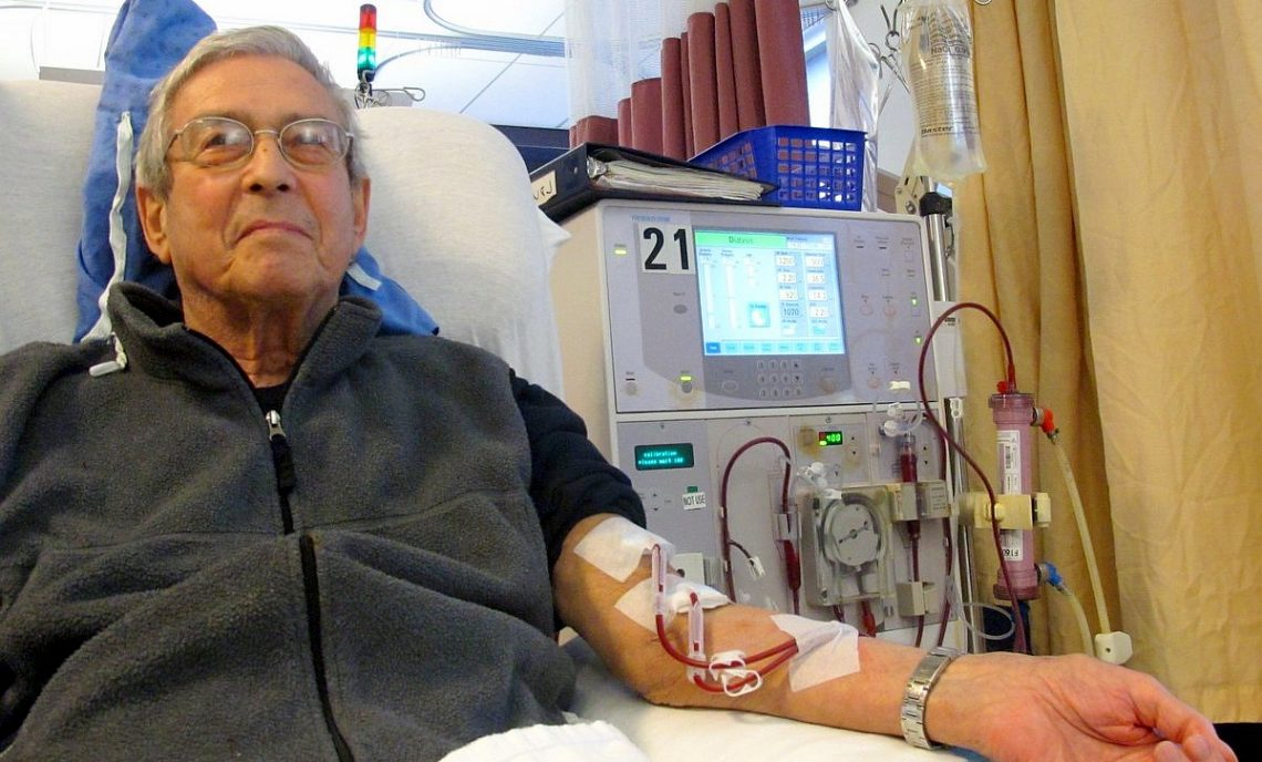 Patient receiving dialysis treatment