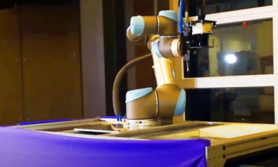3D machine vision application from the combination of a 2D SICK TiM sensor with a 6 axis UR robotic arm.