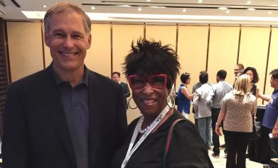 Governor Jay Inslee with Mabel Edmonds