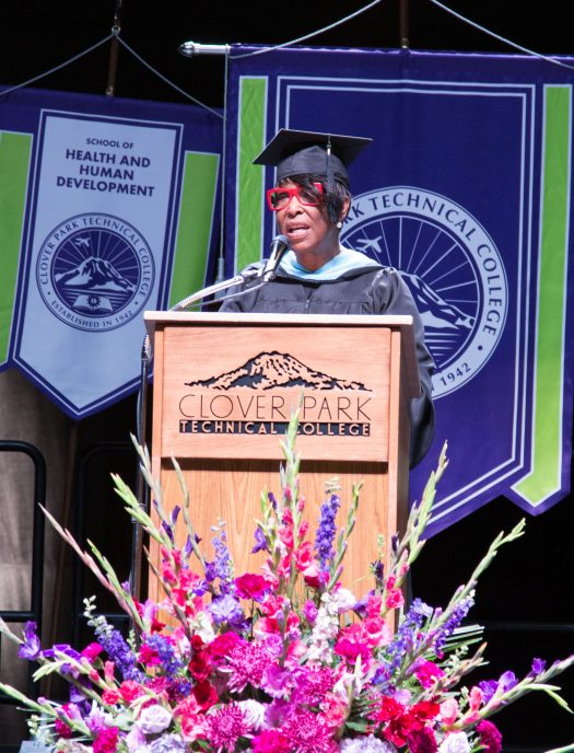 Mabel Edmonds behind the graduation podium