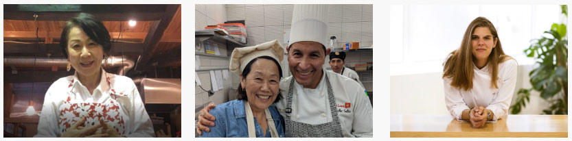 Chef Tomoko live from Osaka, Chef Nacho live from Peru, and/or Chef Ana live from Portugal