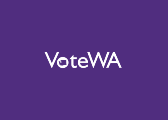 The words Vote Washington on a purple background